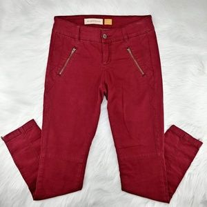 Anthro Pilcro | dark cherry zipped ankle pants